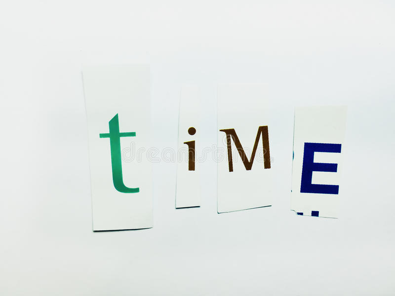 Время - вырез формулирует коллаж смешанных писем кассеты с белой предпосылкой стоковое фото rf