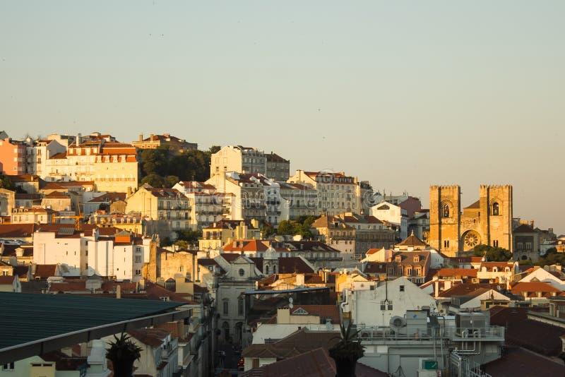 Время городской Лиссабон захода солнца, Португалия стоковые фотографии rf