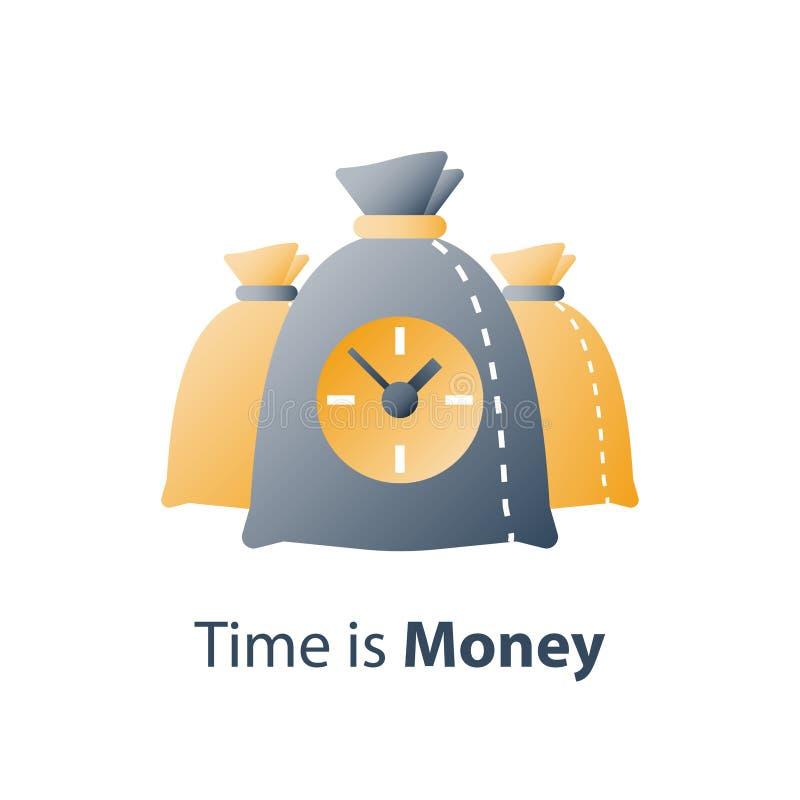 Время деньги, часы и сумка, быстрый заем, быстрый кредит, период оплаты, сберегательный счет, финансовое преимущество иллюстрация вектора
