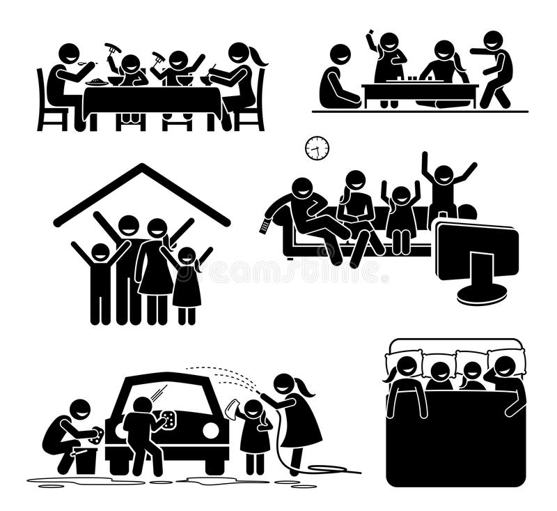 Время деятельностям при семьи дома иллюстрация штока