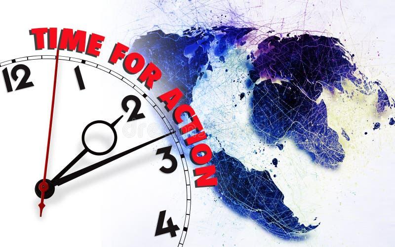 Время для действия против карты земли стоковые фотографии rf