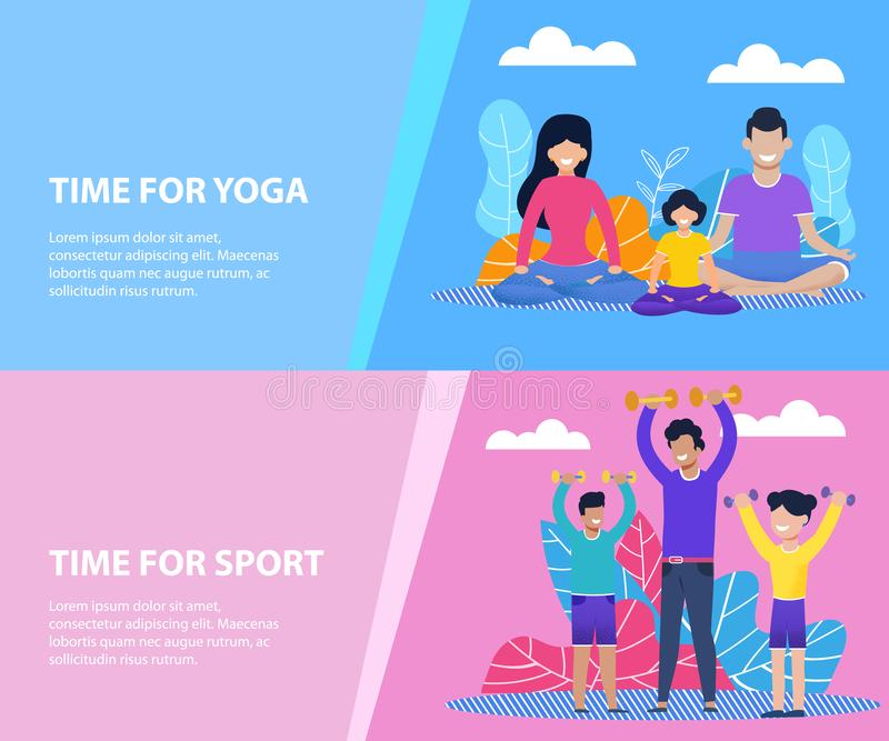 Время для йоги семьи или набора знамен спорта плоского иллюстрация штока
