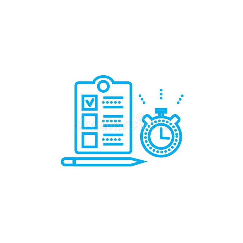 Время для концепции значка задач линейной Время для задач выравнивает знак вектора, символ, иллюстрацию иллюстрация вектора