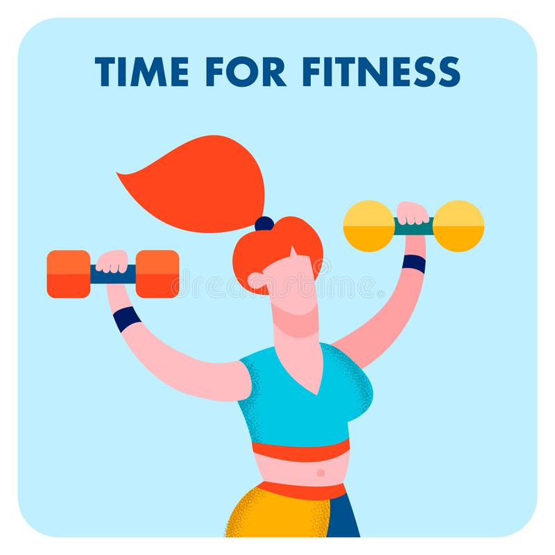 Время для фитнеса, знамени средств массовой информации спортивного центра социального бесплатная иллюстрация