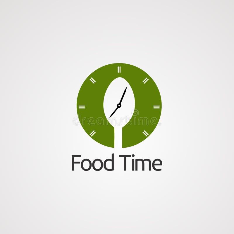 Время еды с вектором логотипа часов и ложки круга, значком, элементом, и шаблоном для компании иллюстрация штока