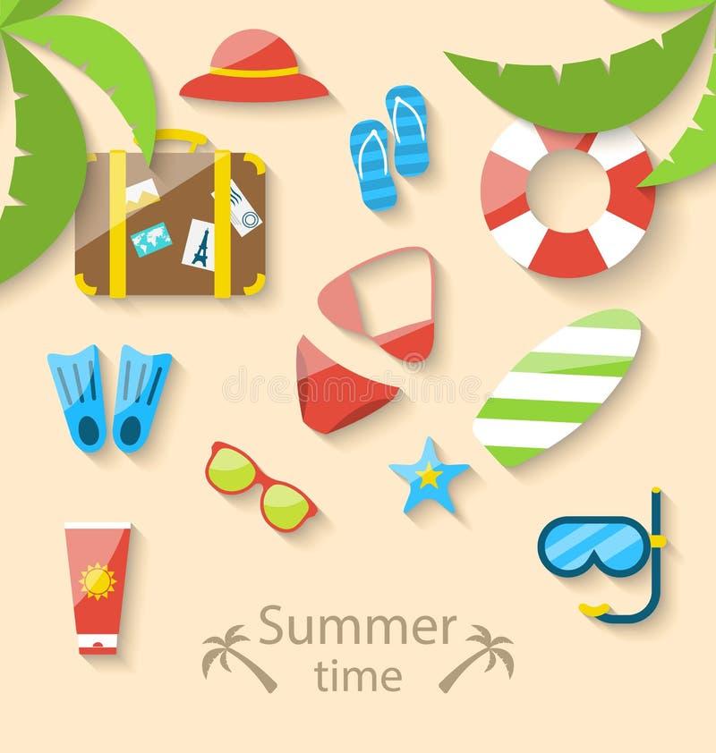 Время летних каникулов с значками квартиры установленными красочными простыми иллюстрация вектора