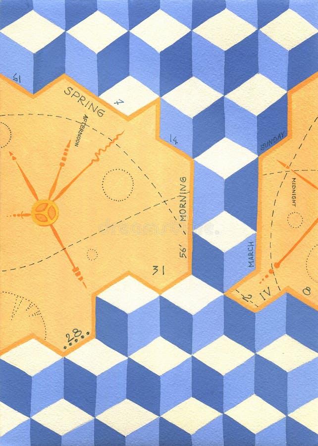 Время жизни, стрелок и календаря на кубах иллюстрация штока