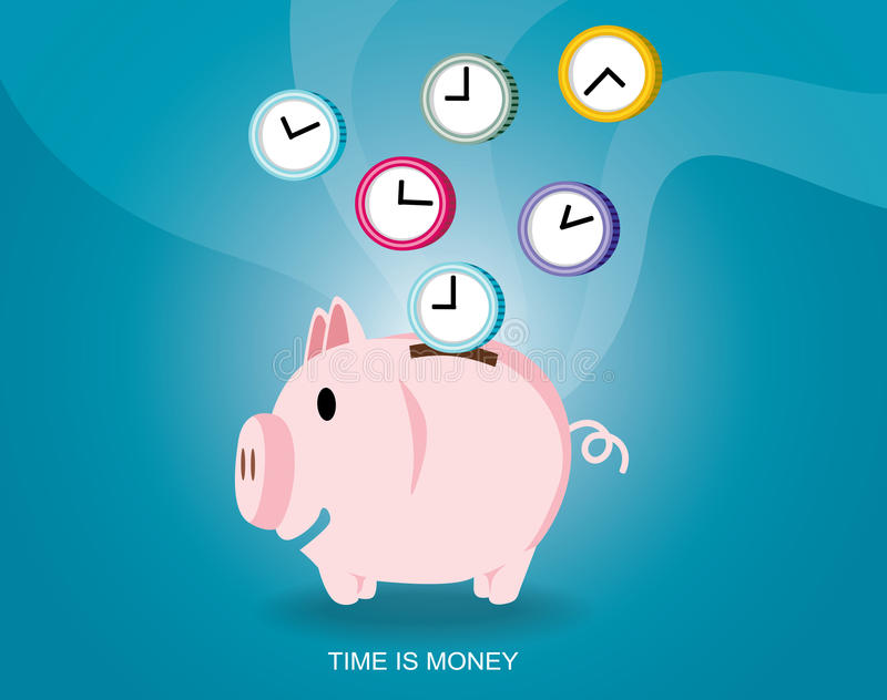 Время дизайна времени сбережений иллюстрация вектора копилки денег бесплатная иллюстрация