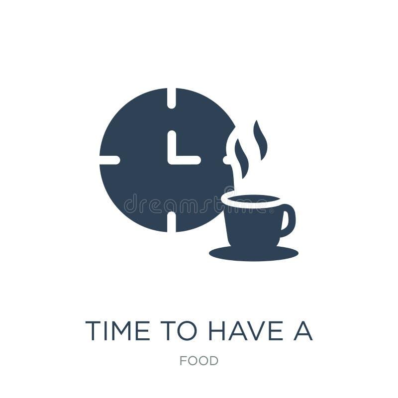время иметь значок перерыва в ультрамодном стиле дизайна время иметь значок перерыва изолированный на белой предпосылке время име иллюстрация вектора