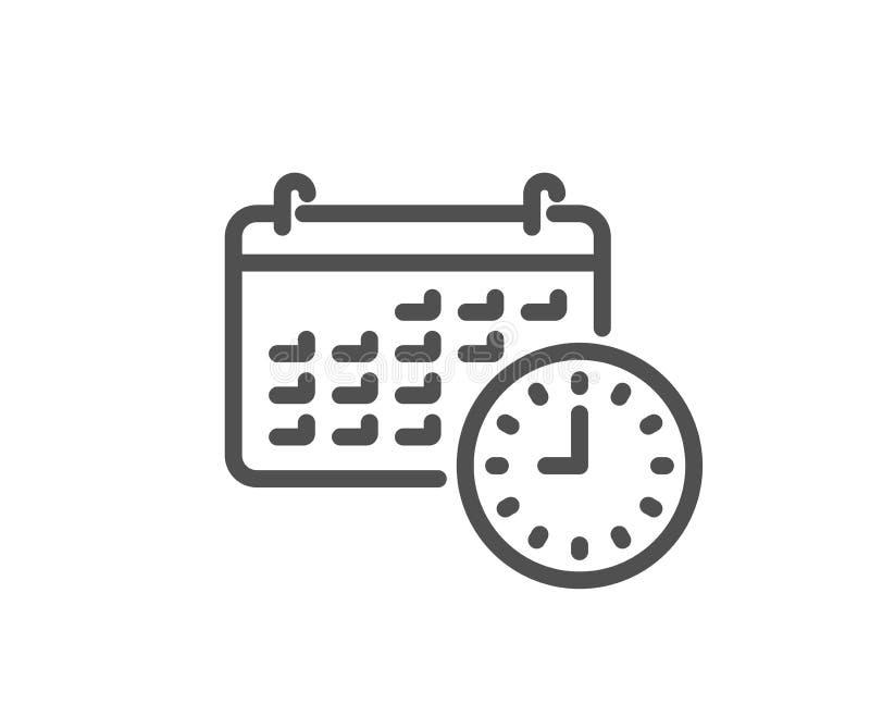 Время и линия значок календаря Знак часов или вахты иллюстрация штока