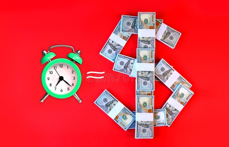 Время концепция денег со знаком часов и доллара стоковая фотография rf