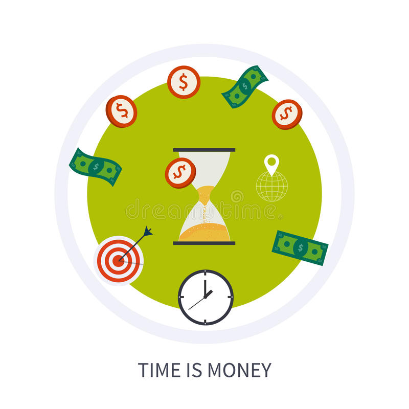 Время концепция дела денег в современной квартире иллюстрация штока