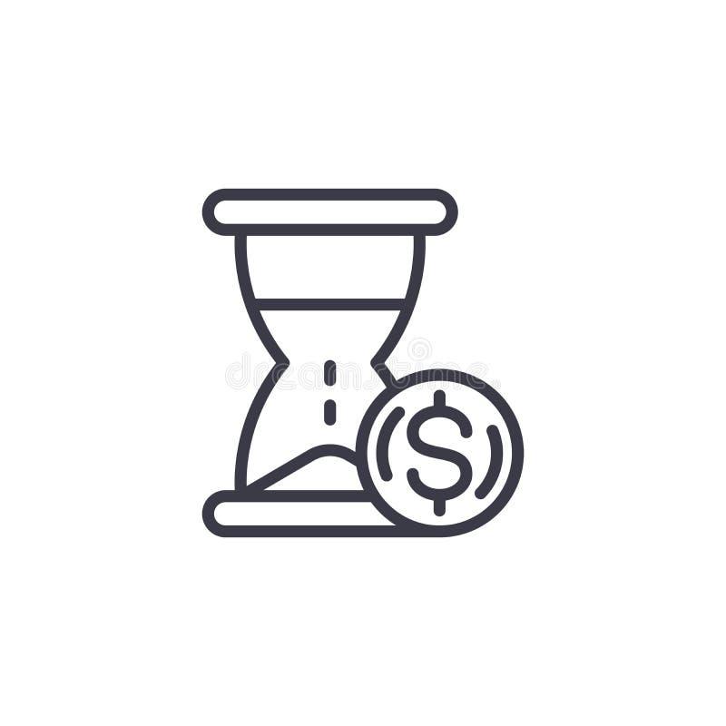 Время концепция значка решения денег линейная Время линия знак решения денег вектора, символ, иллюстрация иллюстрация штока