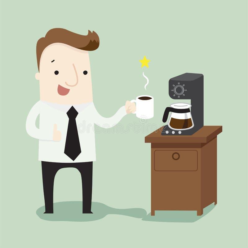 Время кофе влюбленности бизнесмена иллюстрация вектора