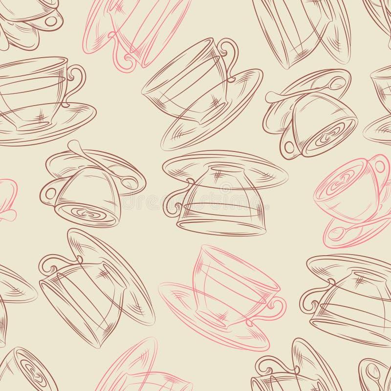Время кофе или чая, безшовная предпосылка для вашего иллюстрация штока