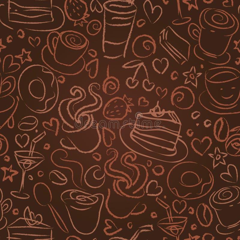 время кофе предпосылки безшовное иллюстрация штока