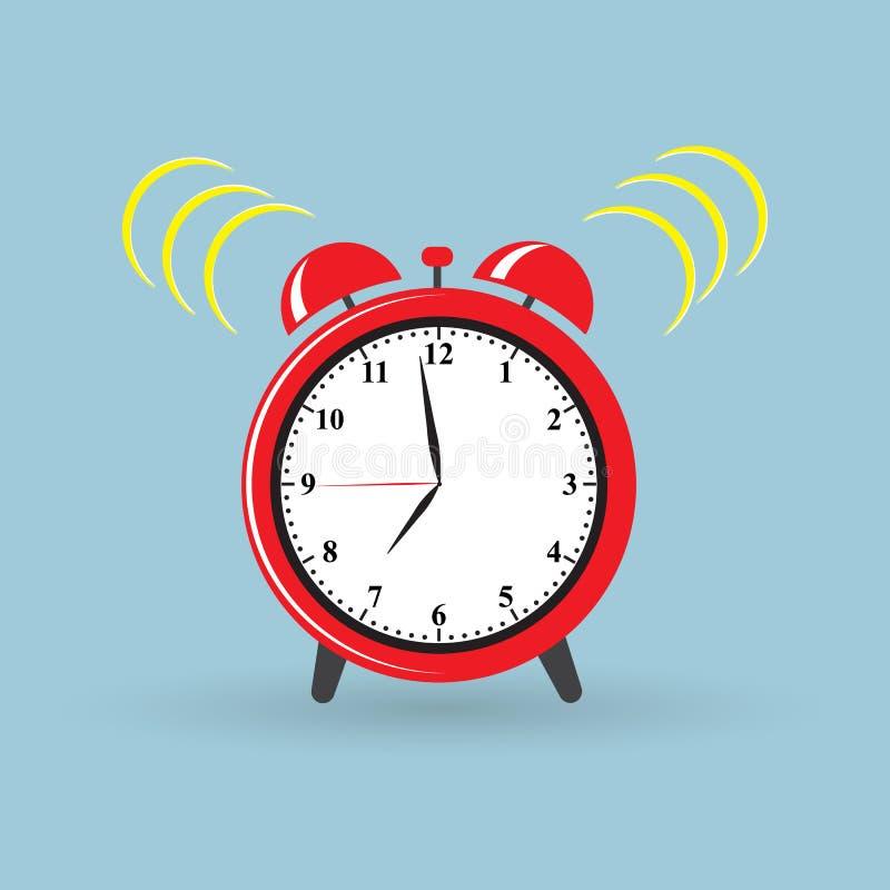 Время красного будильника будильника иллюстрация штока