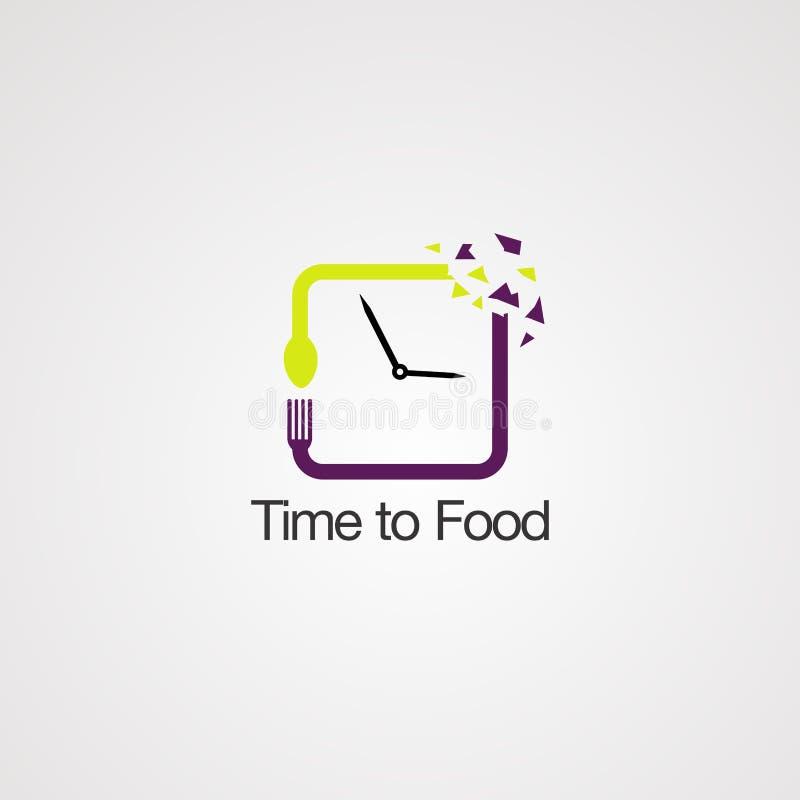 Время к вектору, значку, элементу, и шаблону логотипа еды для компании иллюстрация штока