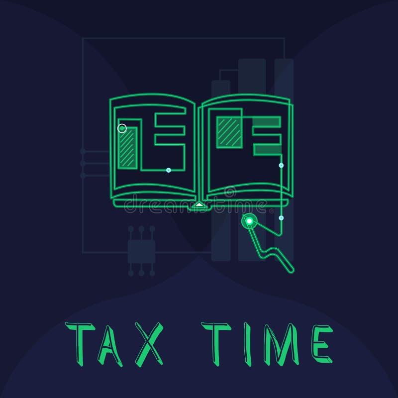 Время налога текста почерка Концепция знача принудительный доход положения вклада собира налоги правительство на работниках иллюстрация вектора