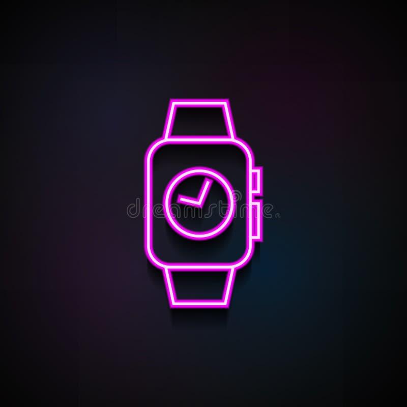 время на умном значке вахт Элемент minimalistic значков для передвижных apps концепции и сети Неоновое время на умном значке вахт иллюстрация штока