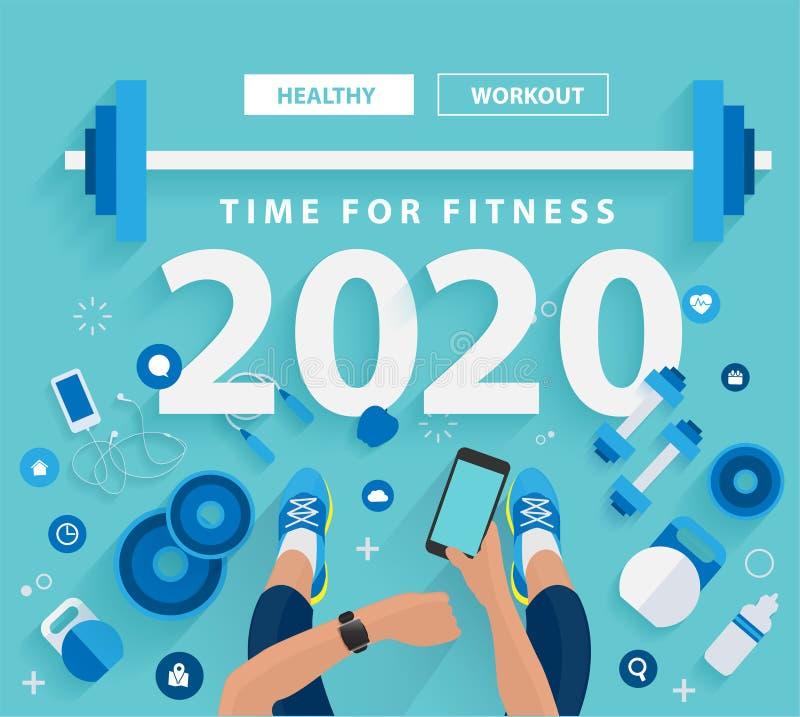 время 2020 Новых Годов для фитнеса в concep идей образа жизни спортзала здоровом бесплатная иллюстрация