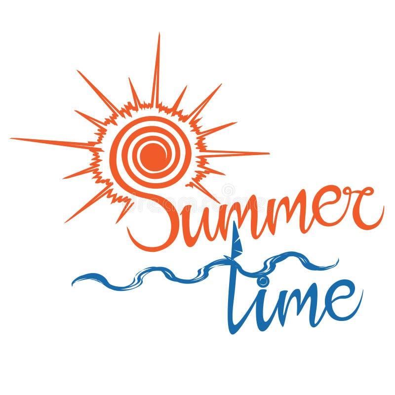 Время логотипа лета, наслаждается вашими праздниками бесплатная иллюстрация