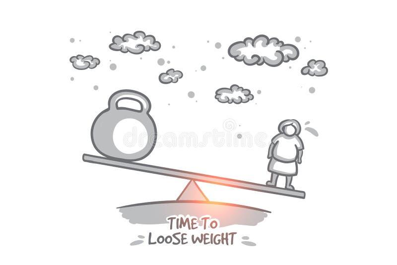 Время освободить концепцию веса Вектор нарисованный рукой изолированный бесплатная иллюстрация