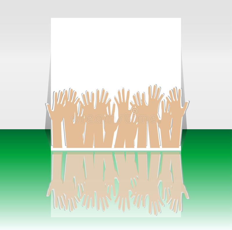 Время партии - конструкция рогульки или крышки с много рук иллюстрация вектора