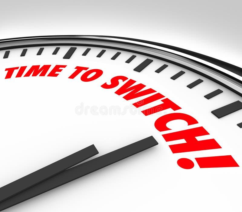 Время переключить слова часов изменяет обратный курс иллюстрация штока
