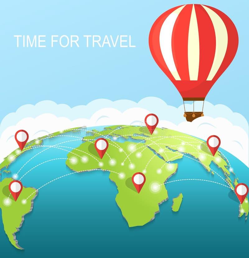время переместить Воздушный шар в небе вокруг земли иллюстрация штока