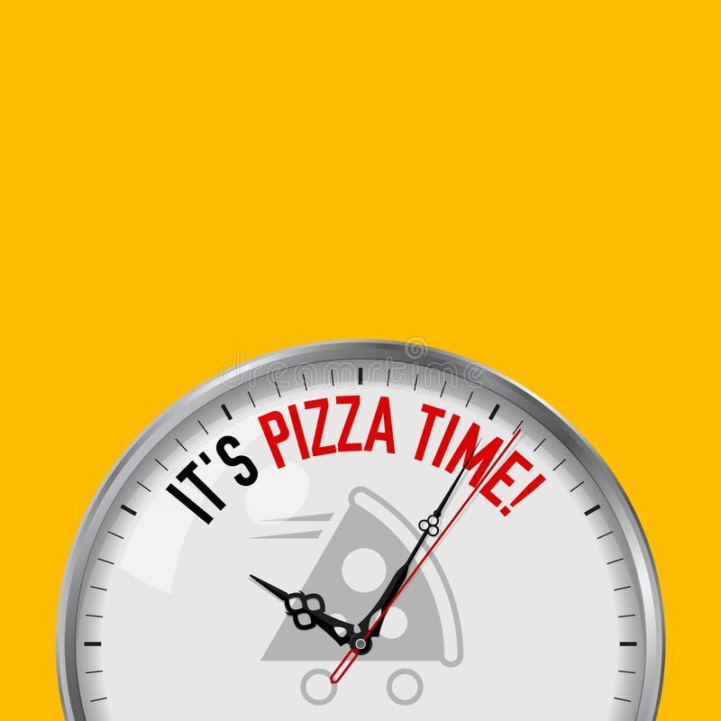 Время пиццы Белые часы вектора с мотивационным лозунгом Сетноой-аналогов дозор металла со стеклом Значок срочной поставки пиццы иллюстрация вектора