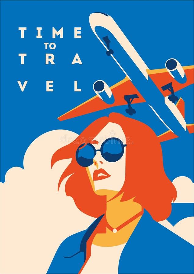 Время плакат путешествовать и летнего отпуска бесплатная иллюстрация