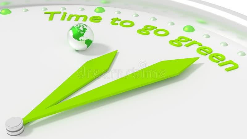 Время пойти зеленая концепция охраны окружающей среды часов Америки бесплатная иллюстрация