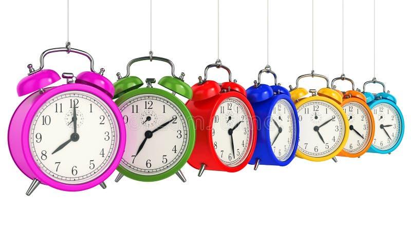 время померанца принципиальной схемы часов предпосылки сигнала тревоги 3d белизна времени предмета предпосылки изолированная прин иллюстрация вектора
