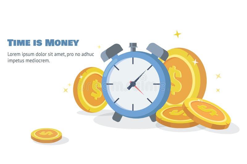 Время принципиальная схема дег Часы в куче штабелированной монетки сбережения денег Плоский вектор иллюстрация штока