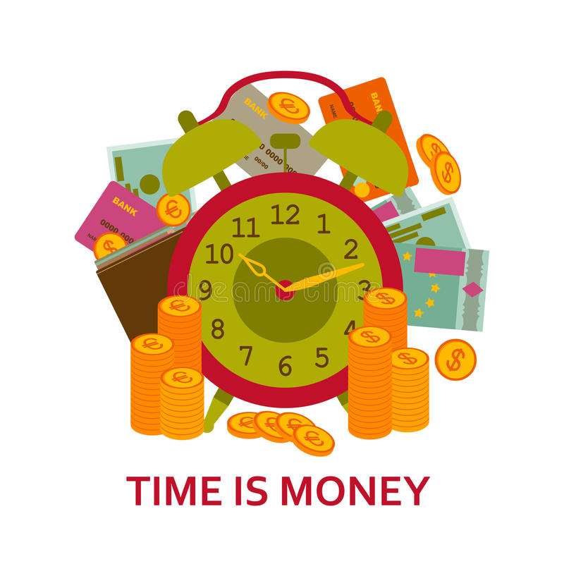 Время принципиальная схема дела денег Предпосылка с старыми часами, деньгами, наличными деньгами, монетками и кредитными карточка иллюстрация штока