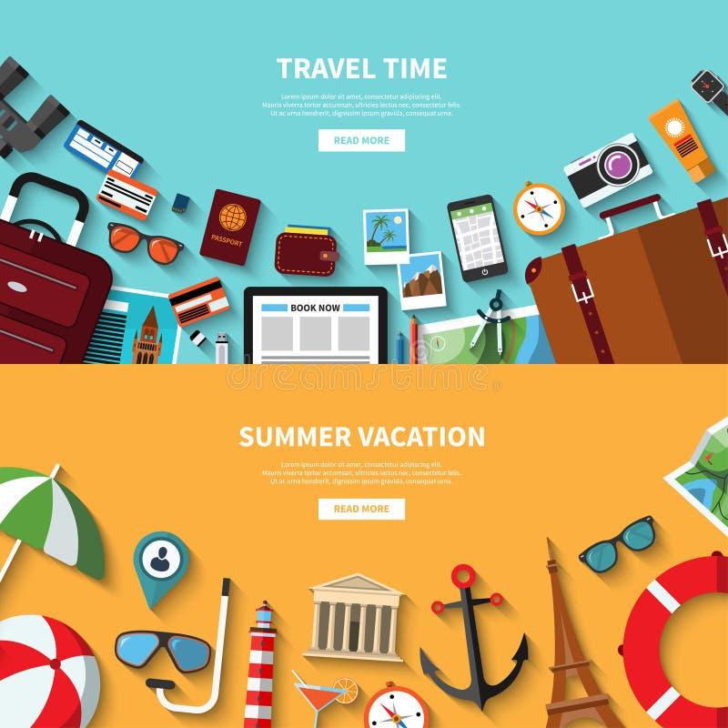 Время прохождения каникула территории лета katya krasnodar Знамена концепции вектора в плоском стиле иллюстрация вектора