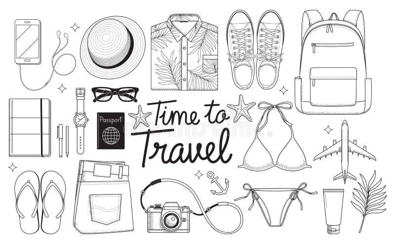 Время путешествовать принципиальная схема Объекты перемещения плоско кладут рисуя стиль ve иллюстрация вектора