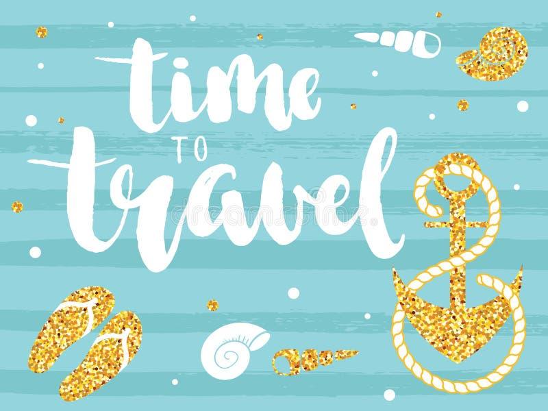Время ` путешествовать цитата ` вдохновляющая иллюстрация штока