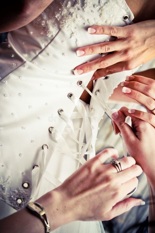 Время платья свадьбы стоковые фотографии rf