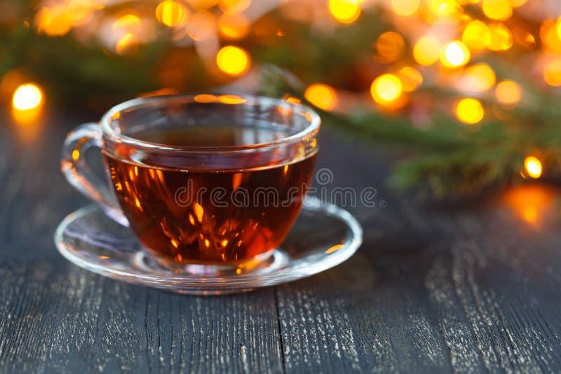 Время рождества ослабляет и чай стоковая фотография rf