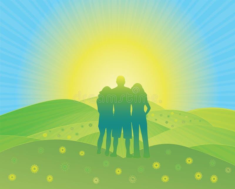 Время семьи в горах на летних каникулах иллюстрация вектора