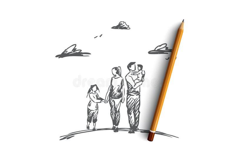 Время семьи, родители, дети, концепция отдыха Вектор нарисованный рукой изолированный иллюстрация вектора
