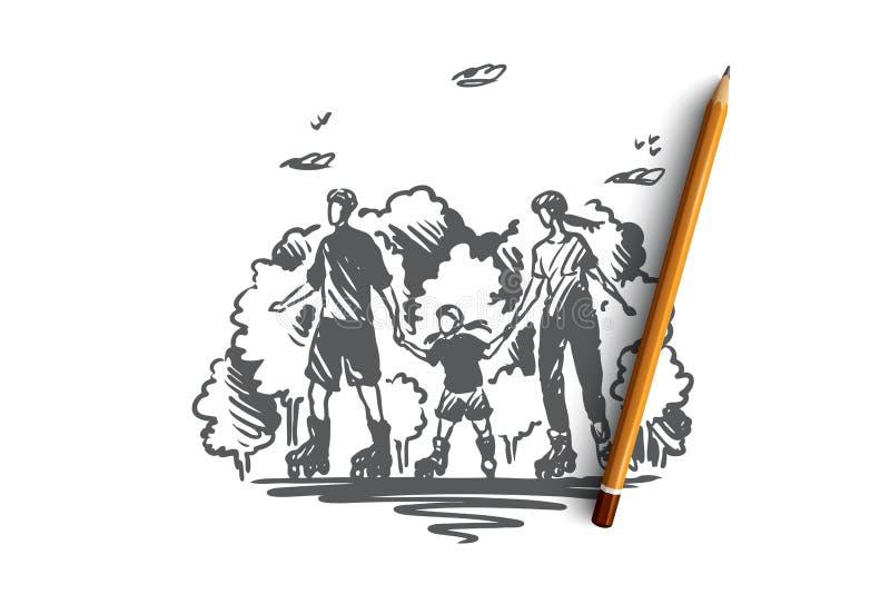 Время семьи, active, ролик, совместно концепция Вектор нарисованный рукой изолированный иллюстрация вектора
