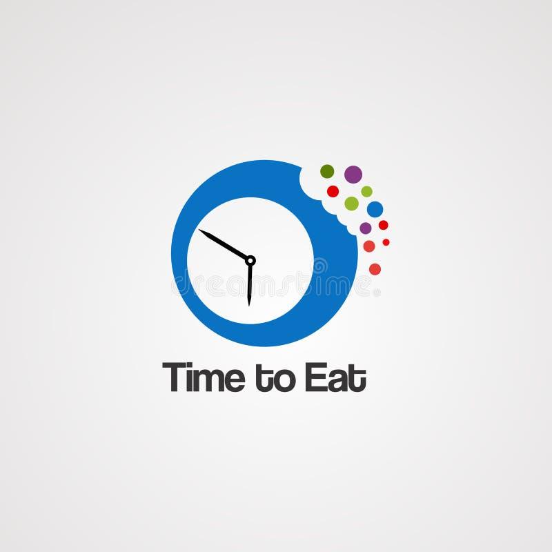 Время съесть вектор, значок, элемент, и шаблон логотипа для компании иллюстрация штока