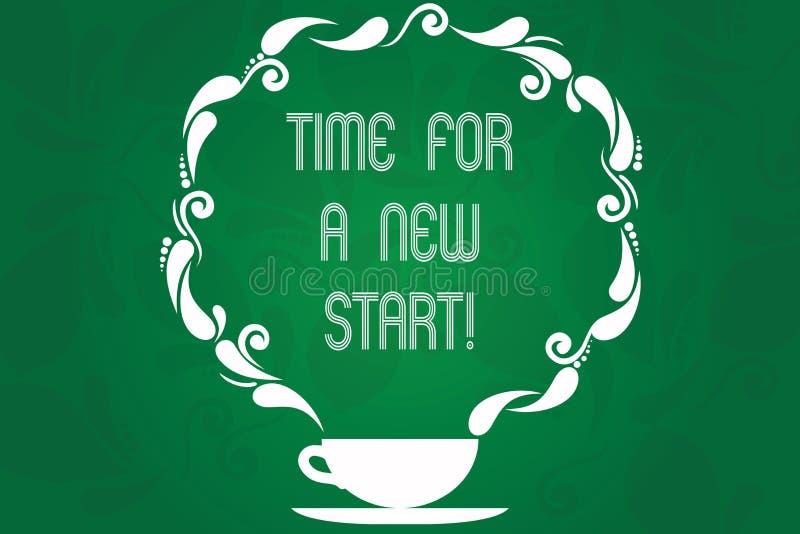 Время текста почерка для нового старта Концепция знача доверие волшебство чашки и поддонника второго рождения начал свежих новых бесплатная иллюстрация