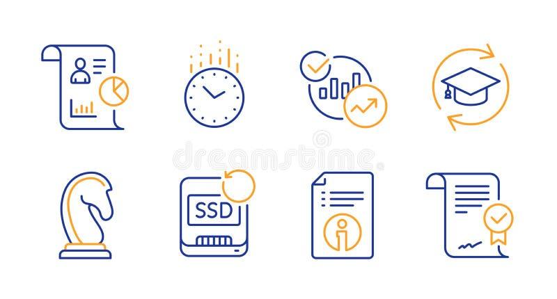 Время, техническая информация и значки отчета набор Знаки маркетинговой стратегии, продолжения образования и статистики r бесплатная иллюстрация