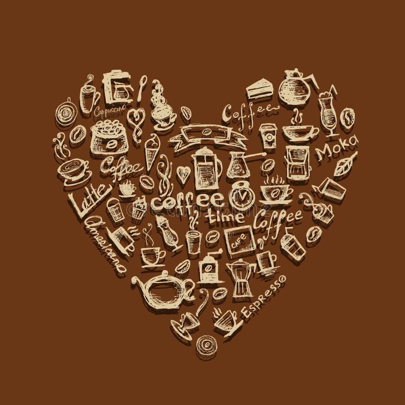 время формы сердца конструкции кофе ваше иллюстрация штока