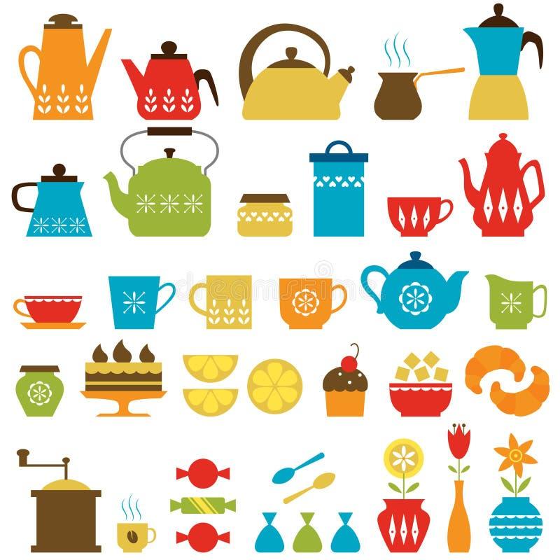 Время чая и время кофе иллюстрация штока