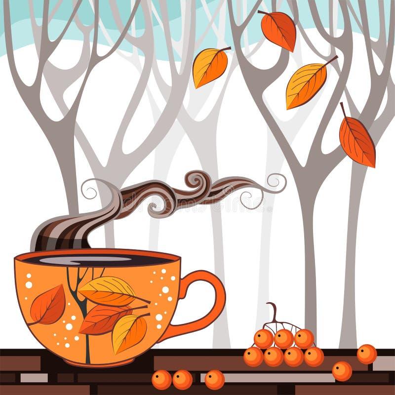 Время чая осени Иллюстрация вектора с чашкой ароматичного чая бесплатная иллюстрация